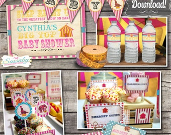 Vintage Circus Candy Baby Shower Collection - INSTANT DOWNLOAD - Editable & Printable Party Decorations, Invite, Decor by Sassaby Parties