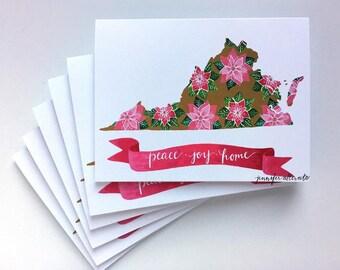 S/6 Virginia Christmas cards peace joy home boxed card set