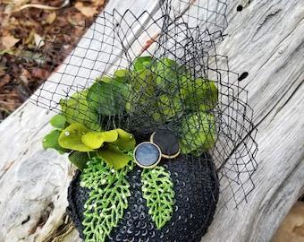 Handmade 1940's Vintage Style Green and Black Fascinator Hat