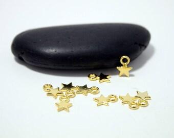 """set of 40 """"stars"""" charms pendants gold gilt"""