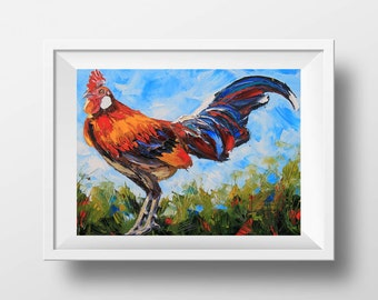Rooster Print, Kitchen Decor, Chicken Art, Giclee Print, Colorful Art, Animal Painting, King of the Coop,Palette Knife Artwork by Lisa Elley