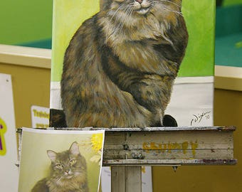 18in x 24in – Custom Pet Portrait Painting from Photo, Dog Painting, Cat Painting, Memorial, Animal Lover Gift, Time-Lapse, Frame Included