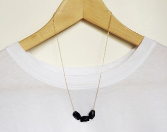Trio of matte faceted beads - geometric - modern necklace