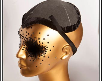 Large Fascinator Hat Base Black with Lining and Straps... Base For Headdress Hat Millinery Foam DIY