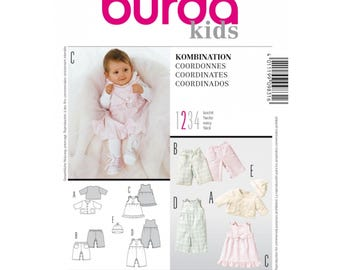 NEW BURDA Kids Pattern 9831, Baby Dress, Jacket, Hat, Pants -Infant Pattern