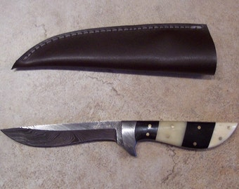 Custom Handmade knife with Damascus Steel Single Edged Utility Style Blade with heavy duty custom leather sheath
