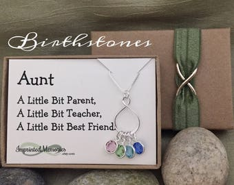 Gifts for Aunt Necklace Birthday gift for Sister - Sterling Silver Eternity Birthstone Necklace for Aunt from Nieces from Nephews Auntie