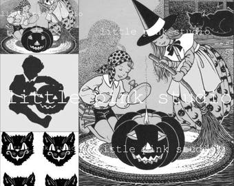 A Vintage Black and White Halloween collage sheet (printable, digital download)