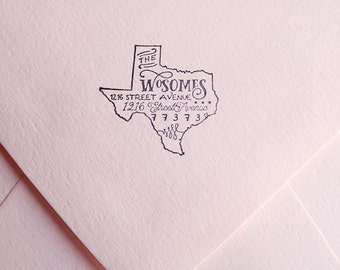State Return Address Stamp, Typography State Stamp, Personalized Gift, Any State
