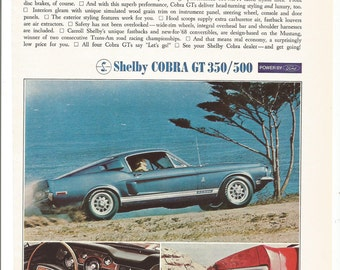 1968 Advertisement Ford Shelby Mustang Cobra GT 60 Muscle Car Convertible Fastback 350 500 Garage Dealership Wall Art Decor