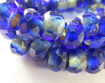 5 Czech Glass Large Hole Mediterranean Waters Cobalt Blue Roller Jewelry Beads 12mm x 8mm Faceted Rondelles with 4mm holes