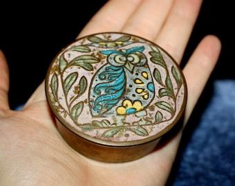 70's, Cloisonné, Owl, Enamel, Brass, Box, Decor, Cloisonne, Keepsake Box, Trinket Box, Jewelry Box, Hand Painted, Handmade, Circular, Gold