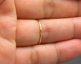 Thin Yellow 14k Gold Filled Multi Hammered Stacking Ring, Multi Faceted ring (18 gauge)
