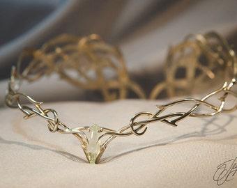 elf jewelry - wedding tiara - elven king - natural aquamarine - elven diadem - elven tiara - Elven crown - king of the elves Thranduil