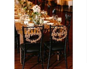 Bride and Groom Wreath Chair Signs Wedding Chair Signs