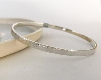 Hammered finish bangle sterling silver flat style bangle