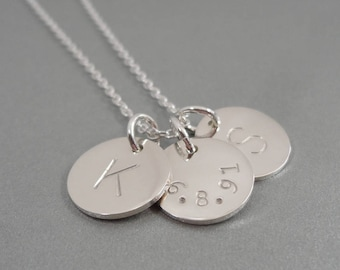"""Three Initial Necklace - with date - Hand Stamped Jewelry - Date stamped Necklace -  1/2"""" Discs"""