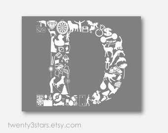 Letter D Poster, Initial Monogram of the Letter D Wall Art, Nursery Wall Art Print, D Monogram Initial Art Print, Wedding Gift, Letter D Art