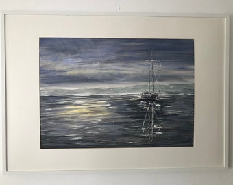 watercolor painting boat