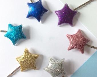 Glitter star bobby pin hair clips, 2 pcs star hair clip set (6 colours) ~ Cute clip in star hair accesssories, resin art hair clip