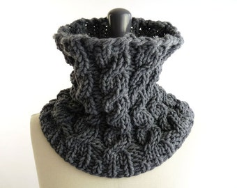 PDF Knitting PATTERN / Printable Knitting INSTRUCTIONS to Hand Knit a Neck Warmer / Snood with Cables. Neck Warmer not included.