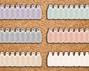 21 Striped Daily Hydration, Water Intake Habit Tracker Planner Stickers for 2017 Inkwell Press IWP-DC32