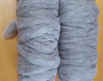 Gray Alpaca Roving, All natural, Neck Fiber
