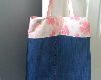 Denim Bag with Vintage Floral, Denim tote bag, Vegan bag, Zero waste, Sustainable, for her, for Work, School, and Shopping
