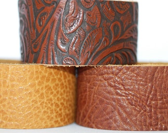 Wholesale Leather Cuffs- High Embossed Wristbands- 3pk Blanks- Genuine Leather
