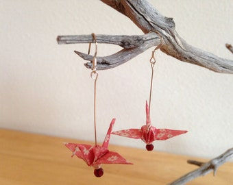 Japanese Origami Crane Earrings Pink