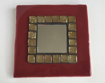 Mosaic Tile Mirror - Burgundy and Gold