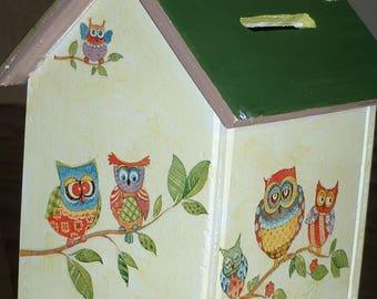 This money box wood-handmade - OWL family