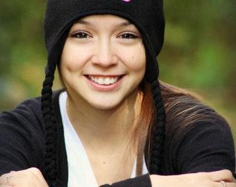 Custom Monogrammed Girls Knit Beanie with Ear Flaps & Tassels - Winter Hat -