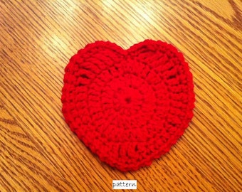 Heart Coaster- INSTANT DOWNLOAD PDF Crochet Pattern- ok to sell finished items