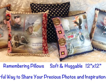 """REMEMBERING PILLOW Sham with Pillow Insert included - 12"""" x 12""""  - One Photo Collage Panel - up to 8 photos & text.  Your choice of fabric"""