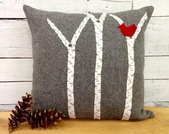Birch Tree Decor, Rustic Pillow, Rustic Home Decor, Rustic Throw Pillow, Rustic Cabin Decor, Red and Gray Decorations, 16 Inch Square