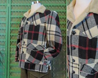 Vintage Plaid Wool Coat Rancher Coat by Schott Bros. Faux Shearling Lining Tartan Plaid Jacket Black Red White