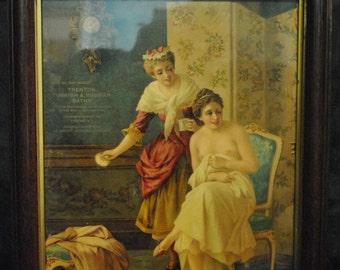 "Beautiful Framed Print, Lady Bathing at Trenton & Turkish Baths 11.5"" x 15.75"", PA4085, Shipping Not Free!!!"