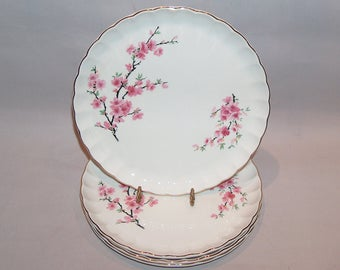 8051: Vintage WS George Bolero Set 4 Dinner Luncheon Plates Peach Blossom Dinnerware China at Vintageway Furniture