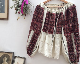Antique Romanian heavily embroidered and beaded soft canvas/gauze peasant, folk blouse