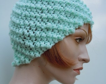 Women's Skull Cap - Flapper Hat - Women's Cloche Hat - Flapper Cloche Hat - Mint Green Hat
