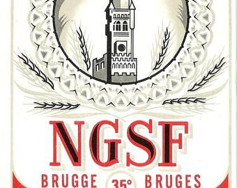 Brandewijn eau-de-vie NGSF Vintage Brandy Label, 1930's (red)