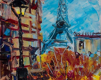Paris Eiffel Tower Art. FRANCE. Wall Art Painting. PARIS art. Original Acrylic painting on canvas by Nataly Basarab. Abstract Cityscape