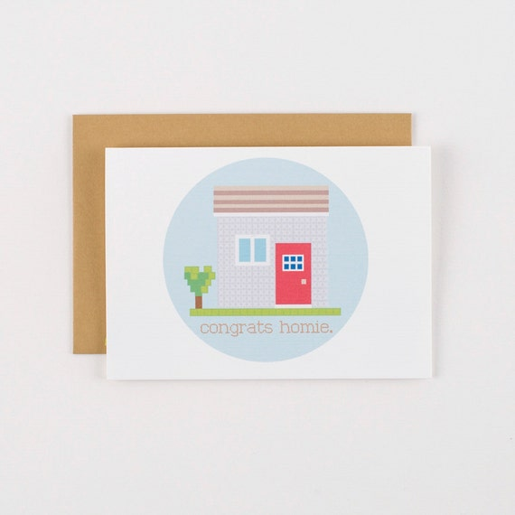 New Home Cross Stitch Congrats Homie Housewarming Greeting Card