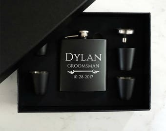 Groomsman Flask Gift Set - Personalized - Flask Set with  Shot Glasses and Funnel - 6oz Stainless Steel  - Free Engraving
