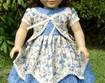 1850s Blue and Ivory Floral Dress made to fit 18 inch dolls