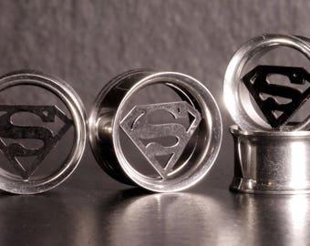 Superman Ear Tunnels, Screw Ear Tunnel, Ear Stretchers, Ear Stretching, Alternative Jewelry