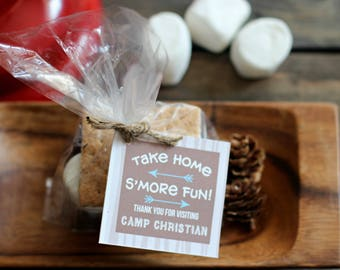 Camping Favor Tags Smores Birthday Party Theme Wood Labels Personalized Boho Printable