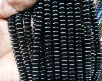 8mm black agate rondelle beads, disc beads, spacer beads, 15.5 inch