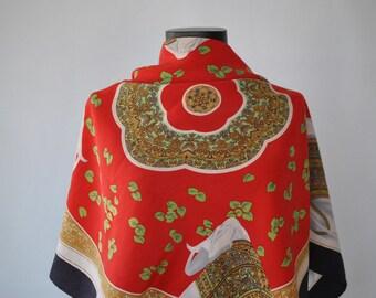 Vintage REVILLON PRINTED SILK scarf ..............(316)